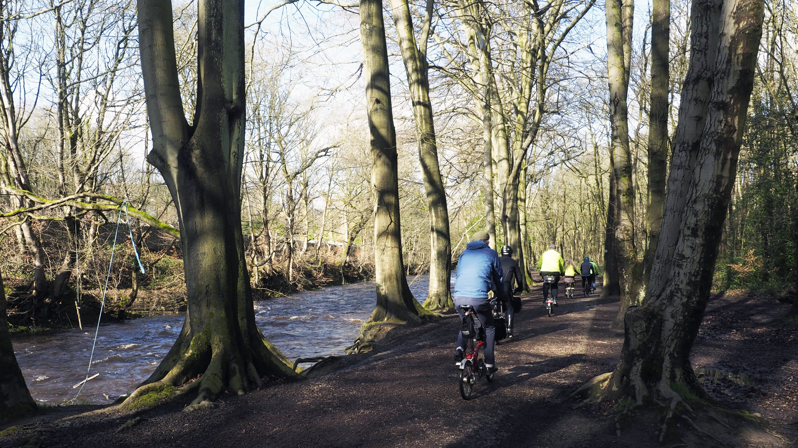Cyclists on the Upper Don Trail in Beeley Wood