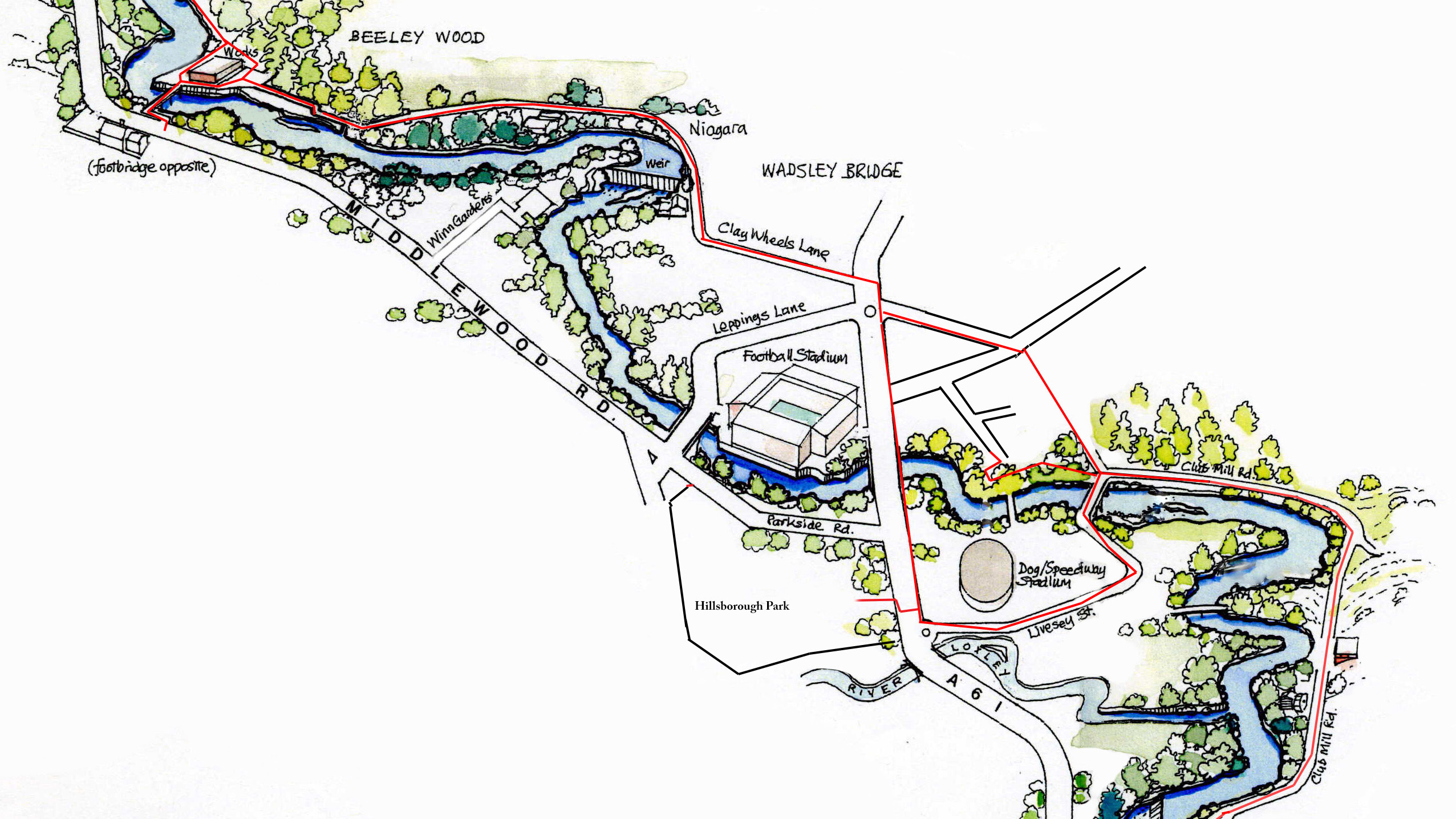 Map of the Upper Don Trail from Beeley Wood to Club Mill Road